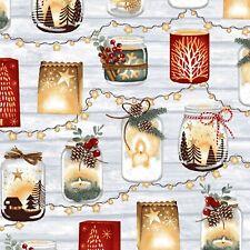 Snowy Magic by Studio E-BTY-Glass jars w/Christmas Themes