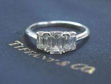 Tiffany & Co Platinum 3-Stone Emerald Cut Diamond Engagement Ring 2.01Ct G-VVS1