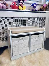 White Storage Bench Unit Wicker Drawers Baskets Cushion Wood Shabby Chic Hallway