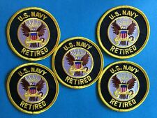 5 Lot US United States Navy Retired Iron On Jacket Hat Hoodie Patches Crests