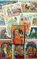 "Postcard set 12 pcs Pushkin ""The Tale of the Golden Cockerel"" Palekh 60s cards"
