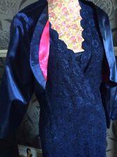 5e40c4333b8 Jacques Vert Lace Embellished Navy Knee Lgth Dress bolero size 22 Pristine  Hols