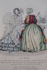 GRAVURE COULEURS LA MODE-OLD FASHION PRINT XIXe SIECLE COSTUME MD79