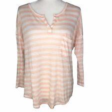 C & C California Stripe Linen Dolman Sleeve Blouse Pink White Women's Medium