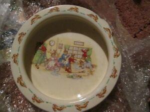 "Royal Doulton Bunnykins Bowl Heavy Porridge Dish 7.5"" Spring Cleaning"