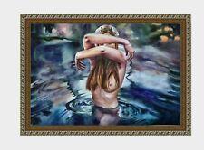 akt zeichnung aquarelle watercolor A3 female girl in water originale woman nude