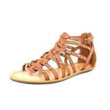 Calzado de mujer sandalias con tiras de color principal marrón sintético