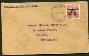 1935 Silver Jubilee Niue 1d on a correct rate cover to New Zealand FD cancel