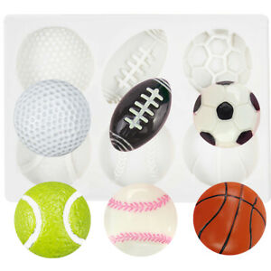 Sports Balls Football Baseball Basketball Rugby Cake Craft Topper Silicone Mould