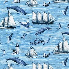 Fabric Whale Watching Lighthouse Sailboats on Ocean Blue Cotton by the 1 yard