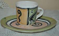 GABRIELLE SCHAFFNER Ceramics Set ESPRESSO CUP+SAUCER HAND MADE PAINT OOAK #2