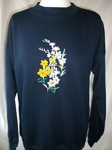 LADIES,WOMENS,LADYS,EMBROIDERED SWEATSHIRTS,TOPS,JUMPERS,WITH FREESIAS NAVY BLUE