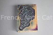 Ancien grand tampon scolaire bois plastique raisin vigne 11,5*8 cm studia 11057