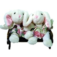 Bunny Couple With White Floral On Bench Figurine