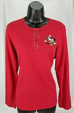 Women's Long Sleeve Red Shirt Disney Store L Large Mickey Minnie Mouse Christmas