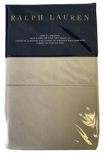 RALPH LAUREN King Pillow Case NWT RL 624 Solid Sateen Vintage Silver MSRP $130