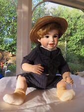 """Antique SFBJ 236 PARIS 14.5"""" Laughing Jumeau Bisque Doll Open Closed Mouth"""