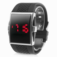 New Cool Mens Boys Black Sports Red LED Digital Silicone Band Dress Wrist Watch