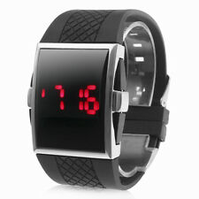 Cool Luxury Men's Boys Black Sports Red LED Digital Silicone Band Wrist Watch