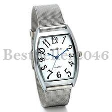 Men Unisex Quartz Blue Hand Stainless Steel Strap Rectangle Analog Wrist Watch