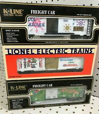 3pc K-LINE LIONEL 1991 1996 1997 Freight Box Cars Christmas Holidays X-Mas NEW!