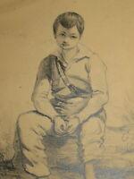 Ecole FRANCAISE XIX DESSIN CRAYON PORTRAIT JEUNE GARCON HOMME ROMANTISME 1836