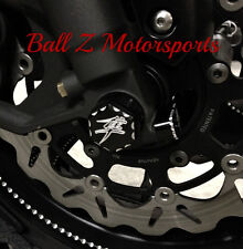 Hayabusa 3D Hex Engraved Black/Silver Ball Cut Front Axle Caps/Cover 99-07-08-17