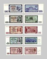 DDR Mark Ausgabe 1955 + 1964 - 2 Sätze - 10 Banknoten - Reproduktion
