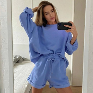 Casual Solid 2Piece Tracksuit Set Loose Sweatshirts and Shorts Sportswear Outfit