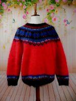 Vintage Icelandic Design Mohair Wool Sweater Fair Isle Medium