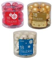 18 / 36 Shatterproof 30mm Baubles Christmas Tree Decoration Xmas Red Gold Silver
