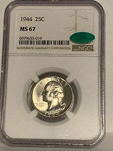 NGC Graded MS 67 1944 Washington Silver Quarter 25C Coin Uncirculated CAC
