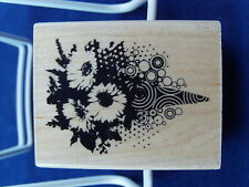 NEW INKADINKADO WOOD MOUNTED RUBBER STAMP FLOWER BOUQUET 99381 501