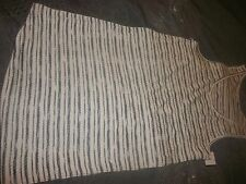 Liz Lange Maternity Long Tank Top Soft Shirt size M White w/black stripes (B23)