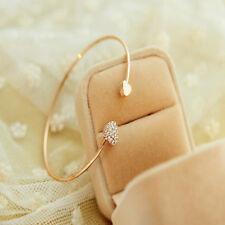 Bracelet Femme,Or,Acier,Rigide,Coeur,Cristaux,Elégante,Chic,Style Mode,Tendance
