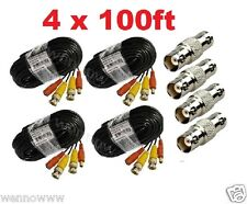 (4)Pack 100ft Pre-made All-in-One Video and Power for Lorex Cctv Security Camera