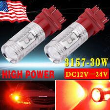 2x 3157 30W Pure Red High Power SRCK CK Tail Brake Stop LED Light Bulbs 12V-24V