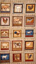 Farm Animal Goat Rooster Cow Hen Cotton Fabric RJR Homestead  #2050 Cream PANEL