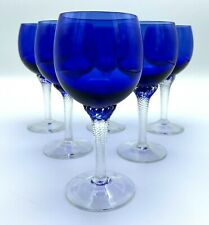 Elegant Cobalt Blue Wine Glasses with Clear Twist Stems Set of 6 - Unique!