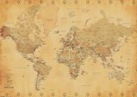 Ancienne Mode Style Géant Map Of The World Affiche Mural 100cm X 140cm