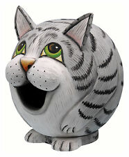 BIRD HOUSES - GREY TABBY CAT BIRD HOUSE - GRAY TABBY CAT BIRDHOUSE - GARDEN