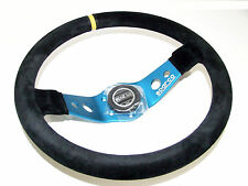 Sparco Steering Wheel - L555 Safari (350mm/90mm Dish/Suede/Blue)