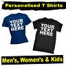 PERSONALISED T-Shirt - CUSTOM TEXT T Shirt tee Plain Shirts lot Mens Womens Kids
