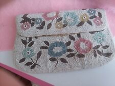 Stunning Vintage Beaded  Clutch Purse White With Colored Flowers Bridal Bag