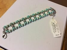 $39 Lucky Brand Turquoise Two Tone Gold/Silver Beaded Bracelet #L55