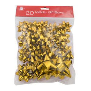 Christmas Gift Wrap 20 Pack of Self Adhesive Foil Bows - Gold
