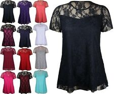 New Womens Lace Lined Party  Ladies Plus Big Size Cap Sleeve Floral Lace Tops UK
