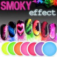 SMOKE POWDER Smoky Effect Nail Powder 14 Colours Neon RAINBOW Dust Manicure