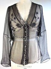 NATAYA Black silk Sheer Top Fancy Lace blouse steampunk victorian XS-S