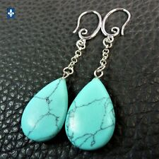 ♥ Lovely Turquoise Drop Plated Silver Chain Earrings